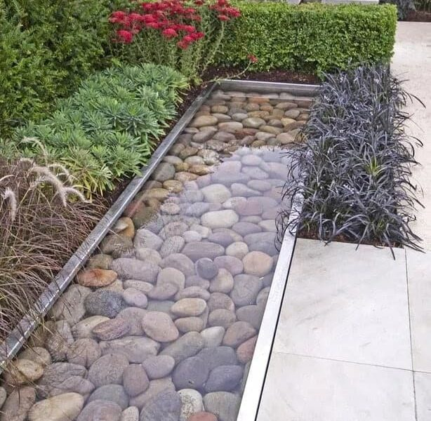 A contemporary reflective pond