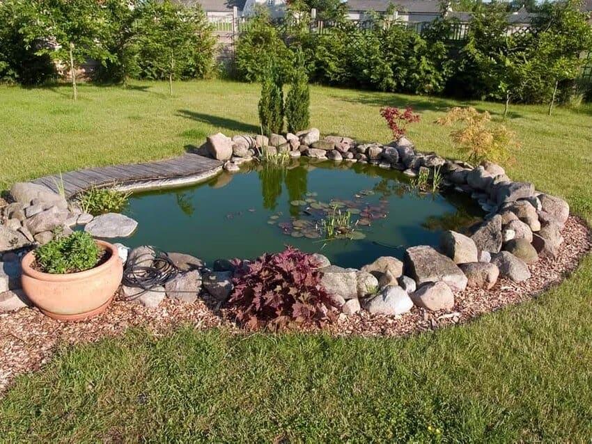 Minimalist and modern garden pond
