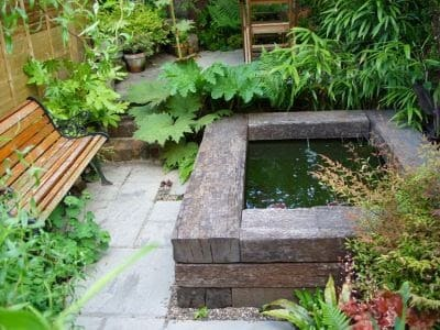 A wooden raised pond