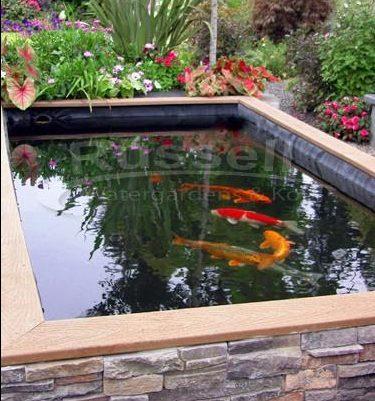 Koi water garden brick and wooden pond