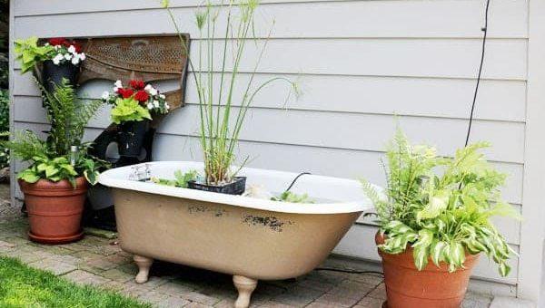 Recycled bathtub pond