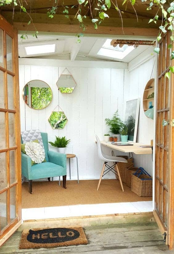 Mini shed transformed into a small garden office