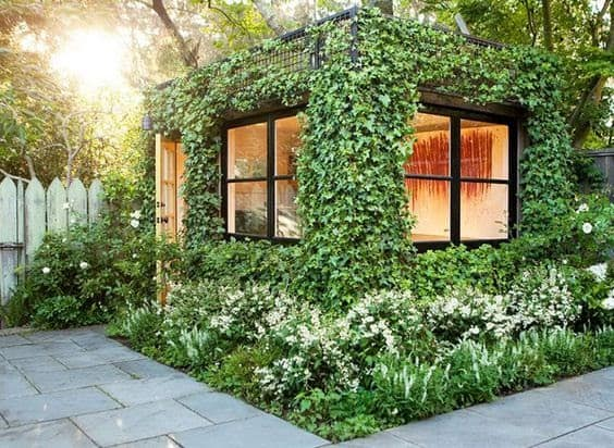 DIY garden room made from a shipping container