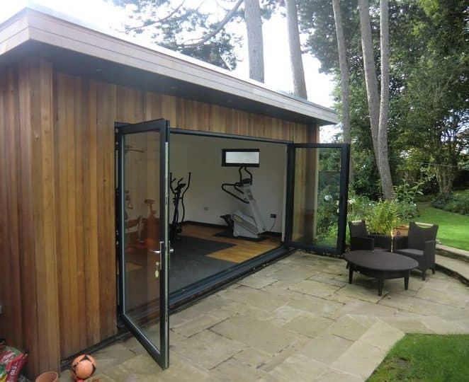 A small garden with glass double doors