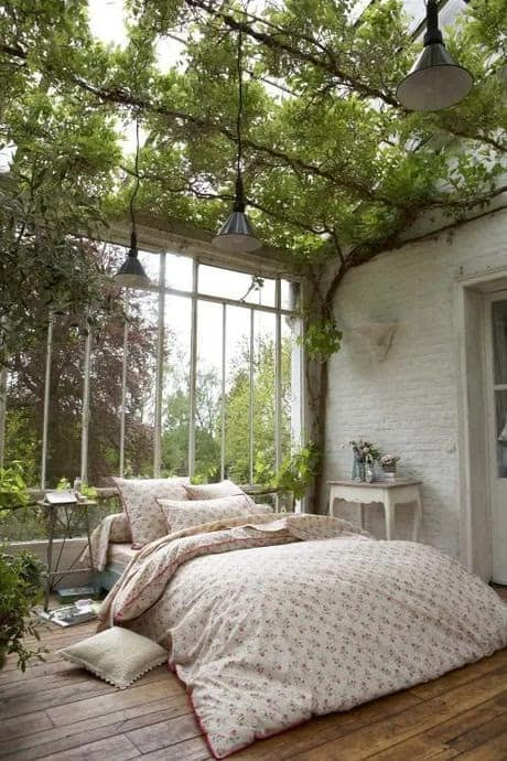 Open-space garden room with plants acting as the roof