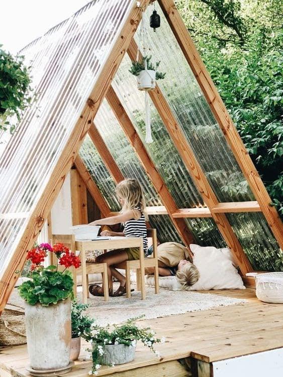 A unique triangular-shaped playhouse