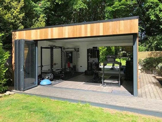 A dedicated space in the backyard for home gym