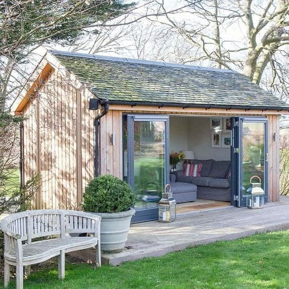 A garden shed retreat good for hosting mini get-togethers with friends