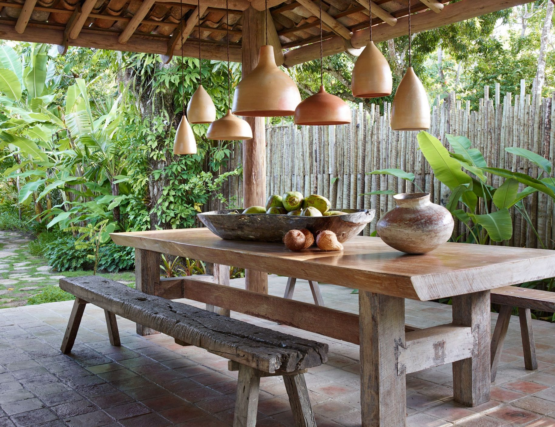 Covered cottage designed with terracotta furnishings