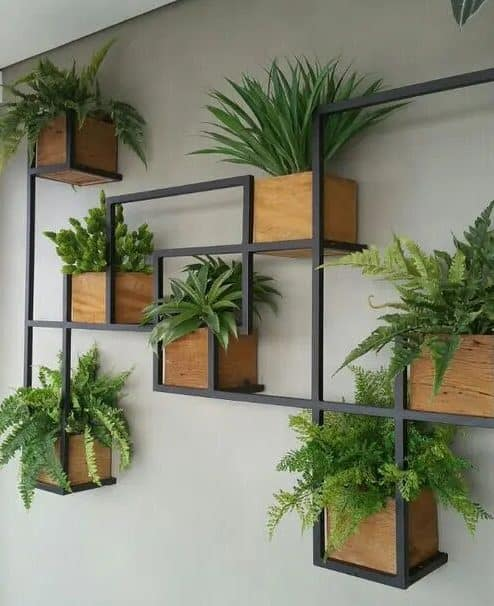 Hanging plants with metal frames
