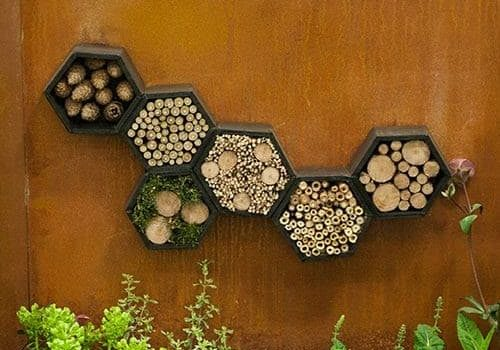 Small logs wall decoration - an abstract work of art