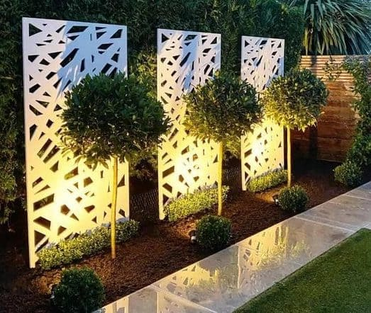 White single artistic panels with garden lights
