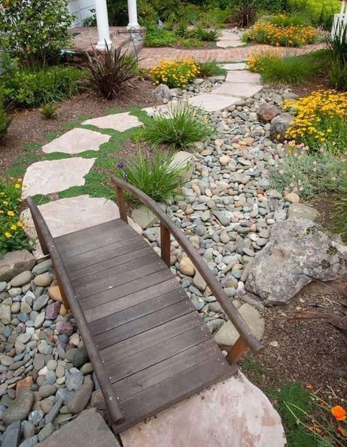 Dry creek garden bed