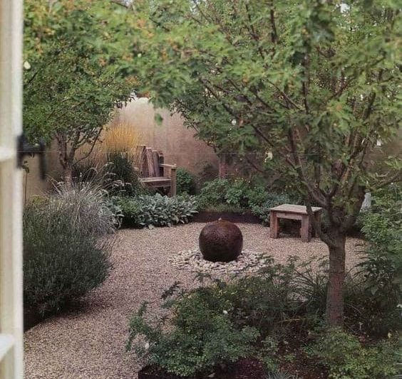 Zen garden with elegant design gravel paving