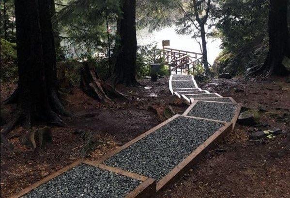 Gravel walkway with wooden edges