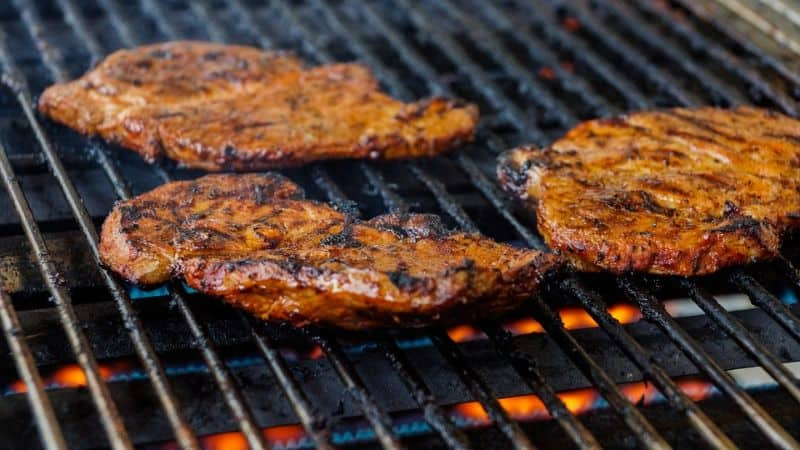 Meat on the grate with perfect sear marks