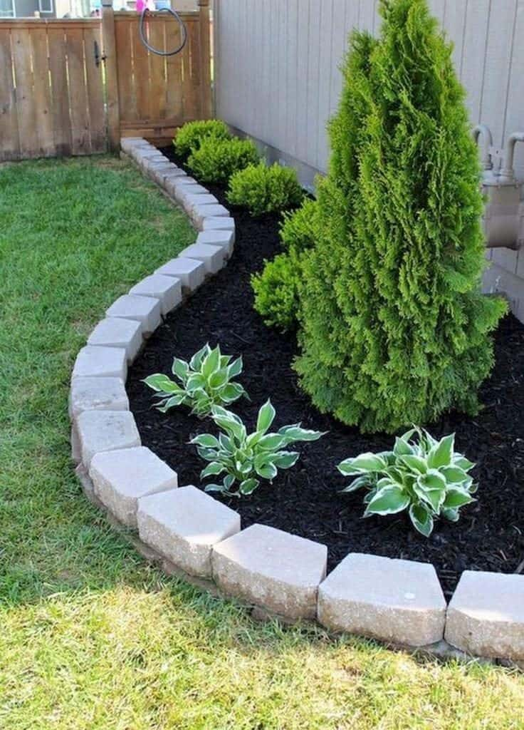 garden bed edge made from stones