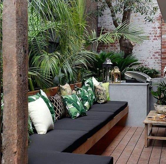 garden deck and sofa