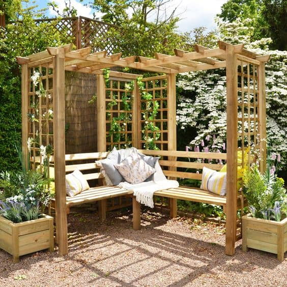wooden bench and pergola