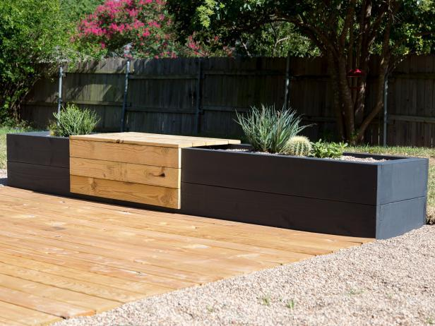modern planter bench in black and natural wood