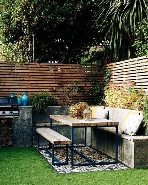 picnic corner table in garden