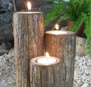 upright log candle holders