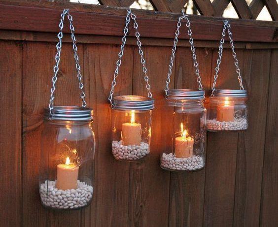 hanging candle mason jars