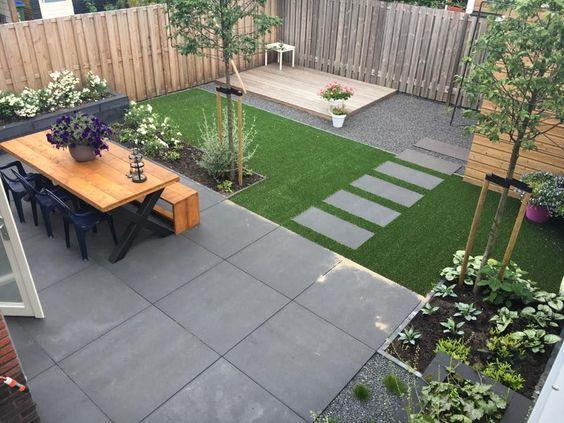 cozy backyard with patio and stepping stones