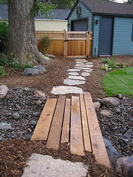 wooden and stone path