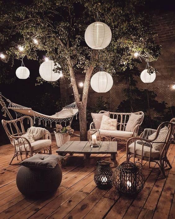 bohemian garden with paper lanterns