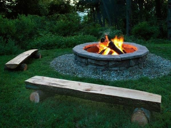log benches around a fire pit