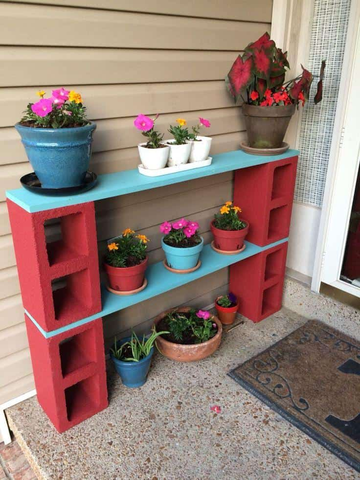 coloured cinder blocks with shelves