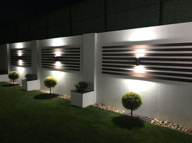 modern garden lighting along walls