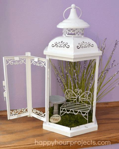 metal lantern fairy garden