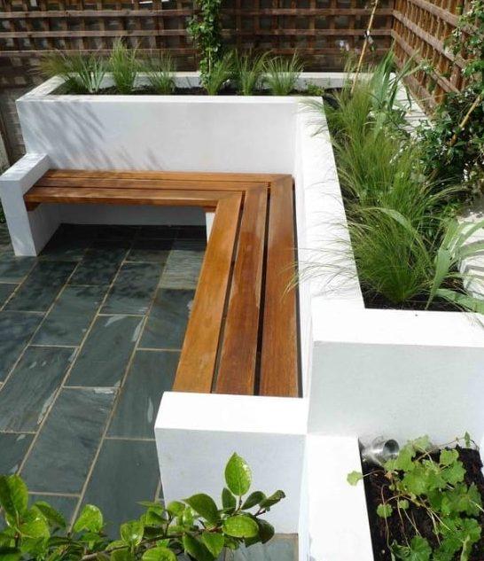small bench built into a planter