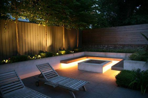 fire pit lighting with sunloungers