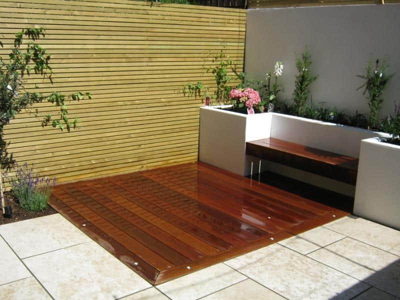 wooden corner patio design