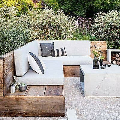 wood and white themed decking patio