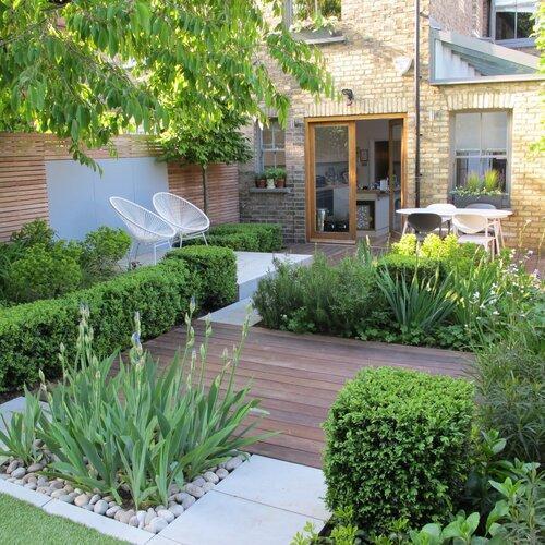 contemporary town garden and decking
