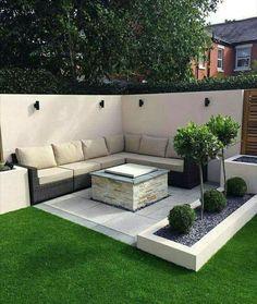 modern corner sofa with stone centrepiece
