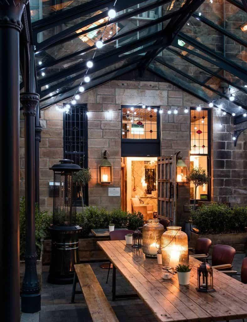 restaurant garden with lighting
