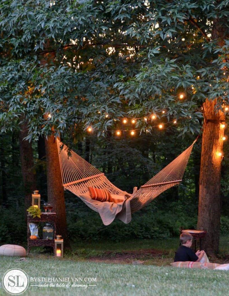 backyard hammock with lights