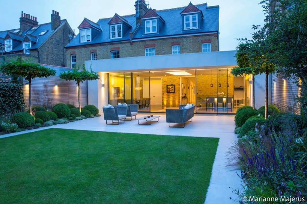 glass-front London Family Home, garden and patio
