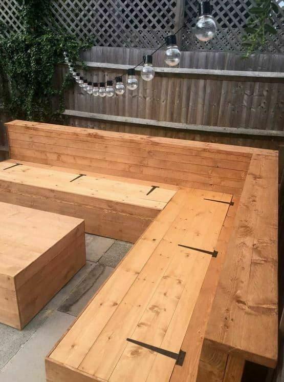 simple wooden corner bench