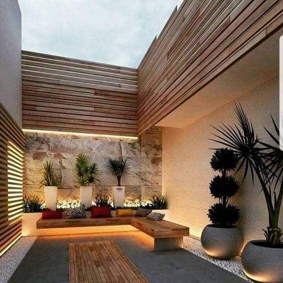 wood backyard with under bench lighting