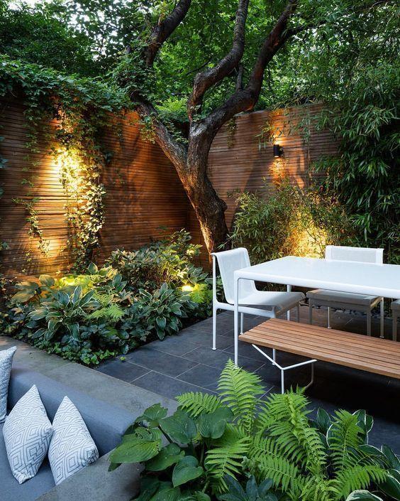 stylish uplit garden corner