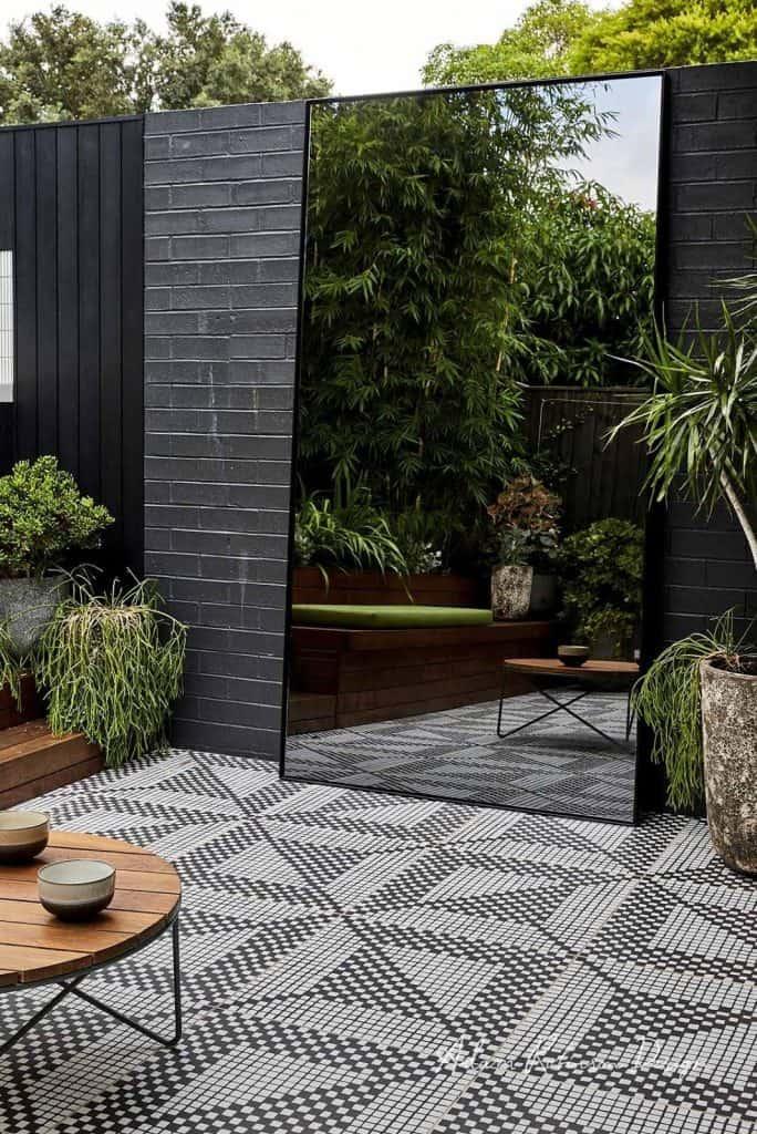 mirror wall garden design