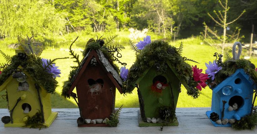 birdhouse fairy gardens