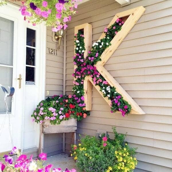 DIY letter K monogram wall planter