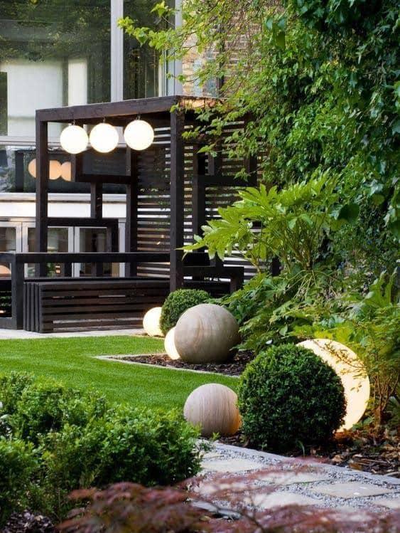 Modern Japanese pergola in garden